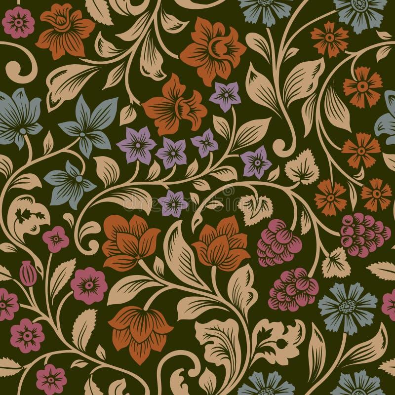 Teste padrão floral do vintage sem emenda do vetor. ilustração do vetor