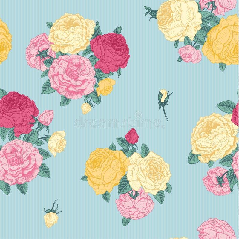 Teste padrão floral do vintage sem emenda do vetor. ilustração stock