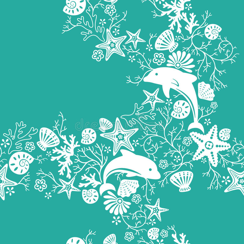 Teste padrão floral e do golfinho ilustração royalty free