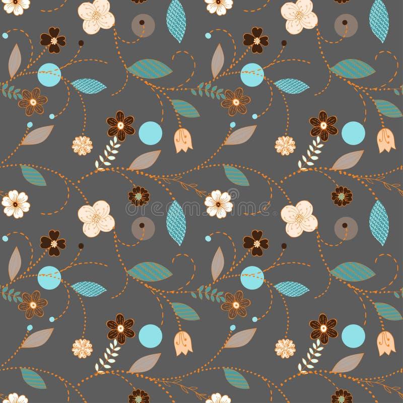Teste padrão floral escandinavo escuro sem emenda ilustração stock