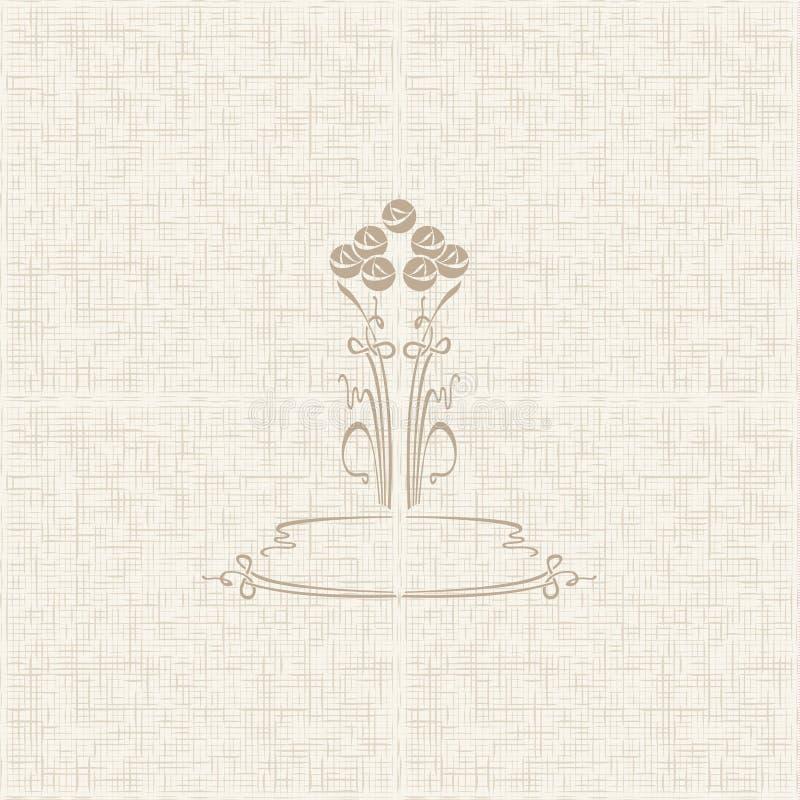 Teste padrão floral estilizado do vetor com rosas ilustração stock