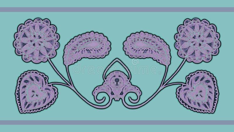 Teste padrão floral estilizado em um fundo da cor em um fundo colorido ilustração stock