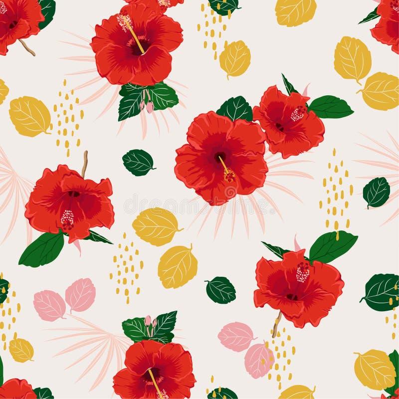 Teste padrão floral exótico do hibiscus vermelho sem emenda colorido do vetor, fundo do verão da mola com flores tropicais, folha ilustração stock