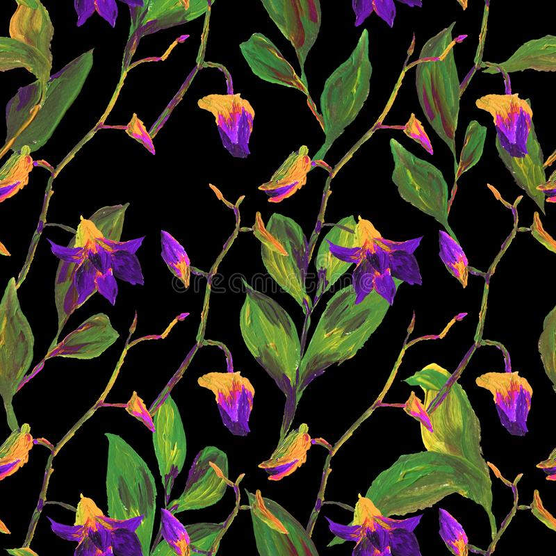 Teste padrão floral exótico sem emenda tropical da forma - flor pintada acrílica da orquídea ilustração stock