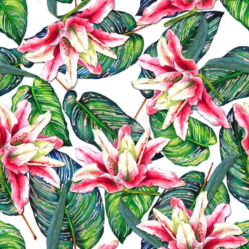 Teste padrão floral feito a mão sem emenda ilustração stock