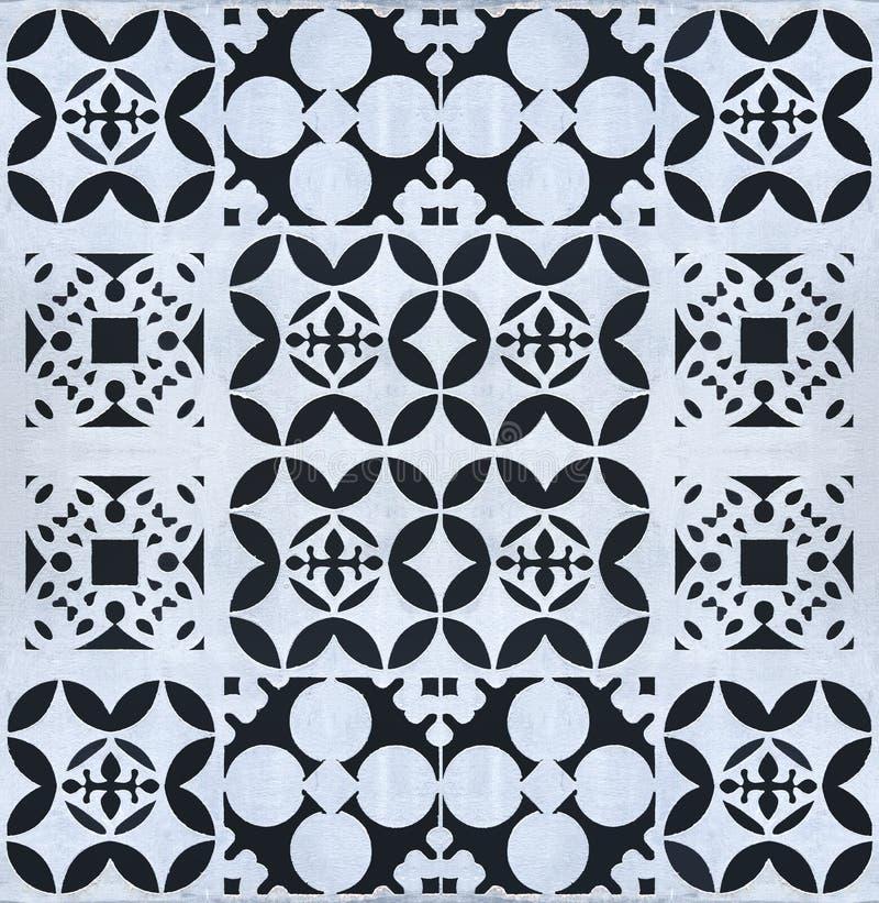 Teste padrão floral geométrico abstrato sem emenda na placa de aço oxidada fotografia de stock royalty free