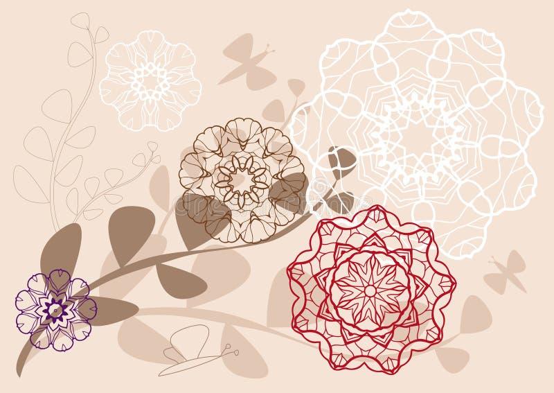 Teste padrão floral Kaleidoscopic ilustração do vetor