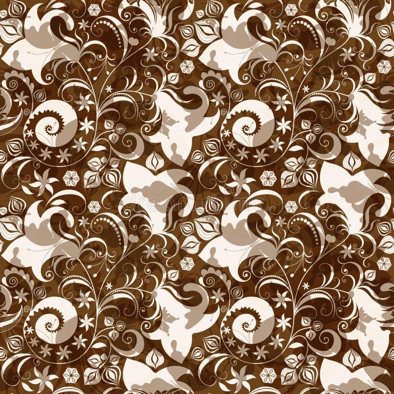 Teste padrão floral marrom-branco sem emenda ilustração royalty free
