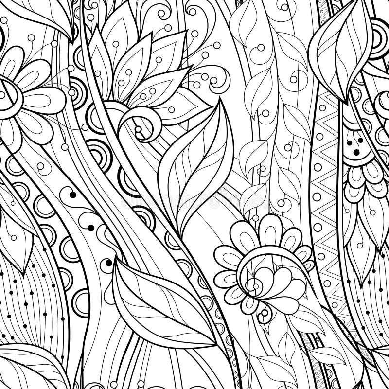 Teste padrão floral monocromático sem emenda ilustração do vetor