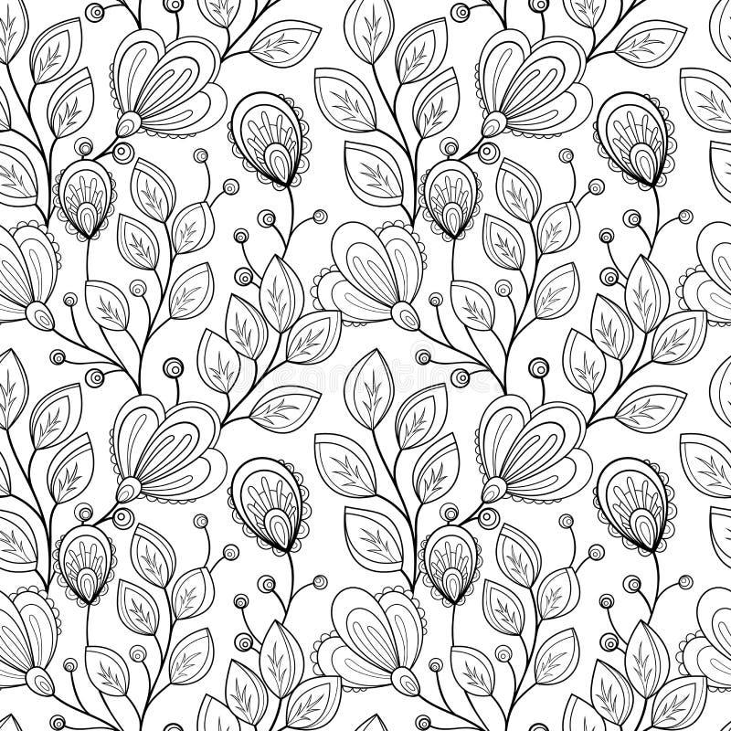 Teste padrão floral monocromático sem emenda do vetor ilustração royalty free