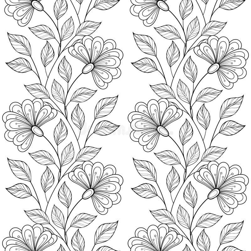Teste padrão floral monocromático sem emenda do vetor ilustração do vetor