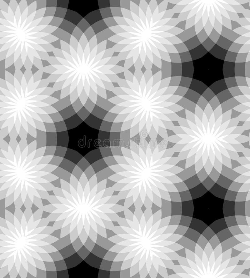 Teste padrão floral monocromático sem emenda Fundo abstrato geométrico Apropriado para a matéria têxtil, a tela e o empacotamento ilustração do vetor
