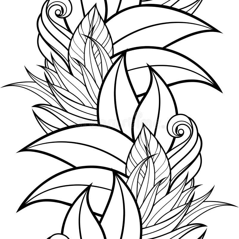 Teste padrão floral monocromático sem emenda (vetor) ilustração stock