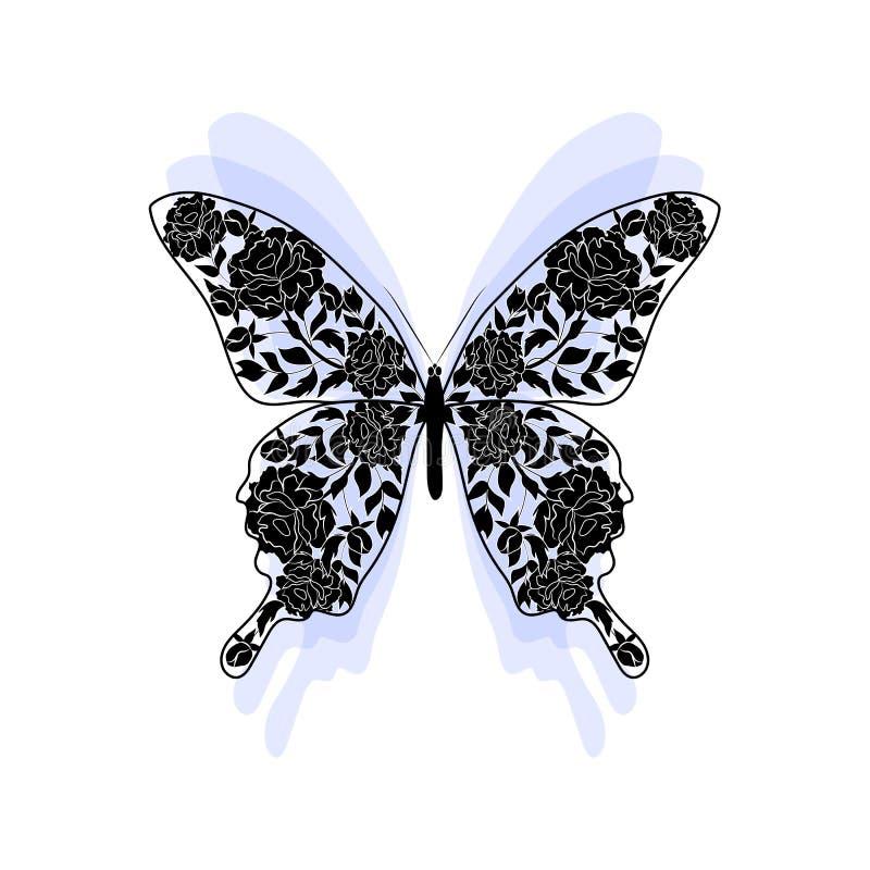 Teste padrão floral na forma de uma borboleta ilustração do vetor