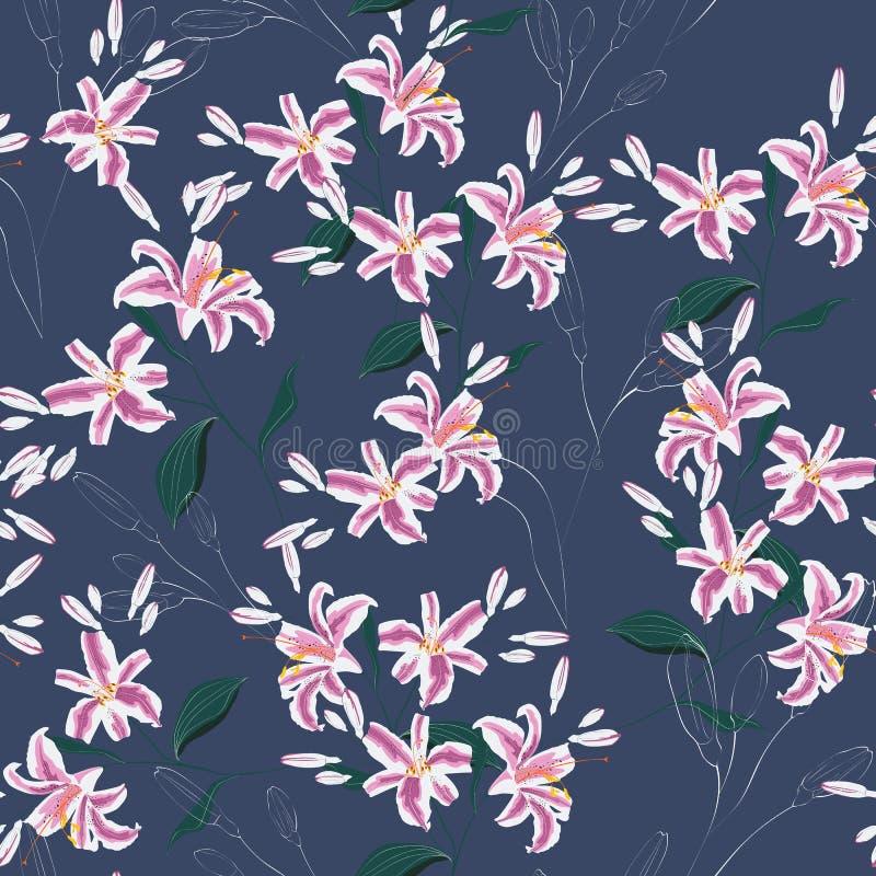 Teste padrão floral na moda com as flores cor-de-rosa dos lírios Mola, teste padrão sem emenda do verão, imprimindo com flores bo ilustração stock