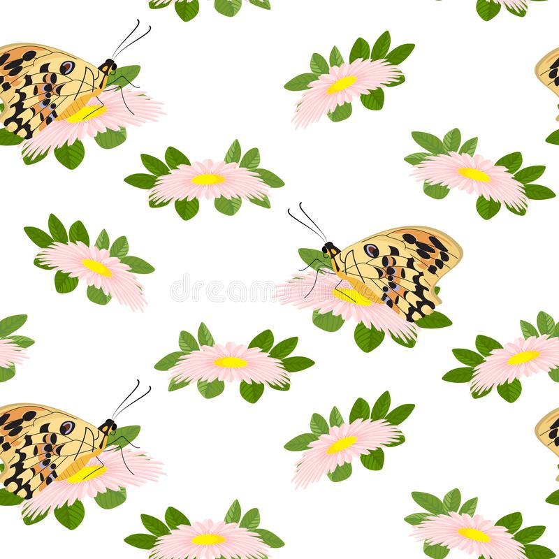 Teste padrão floral na moda de flores, das folhas do verde e do butterfl cor-de-rosa ilustração royalty free