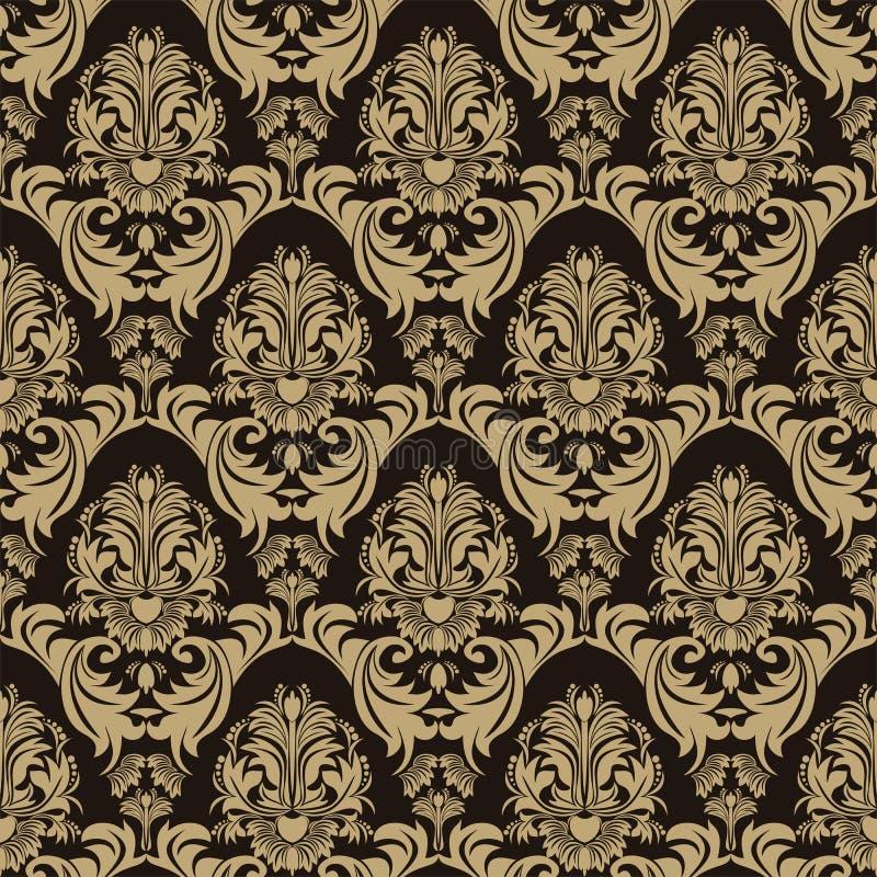 Teste padrão floral ornamentado sem emenda no fundo do chocolate ilustração royalty free