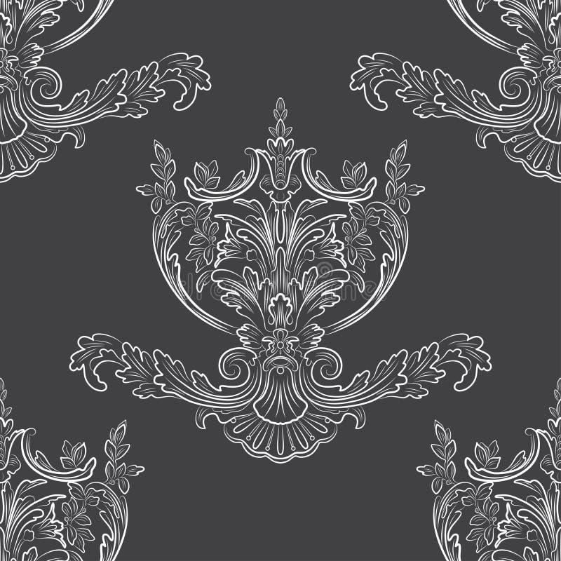 Teste padrão floral Papel de parede barroco, damasco Backg sem emenda ilustração stock