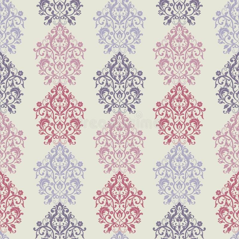 Teste padrão floral Papel de parede barroco, damasco Fundo sem emenda do vetor ilustração royalty free