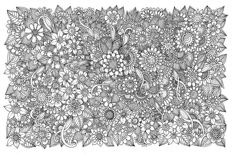 Teste padrão floral para o livro para colorir ilustração do vetor