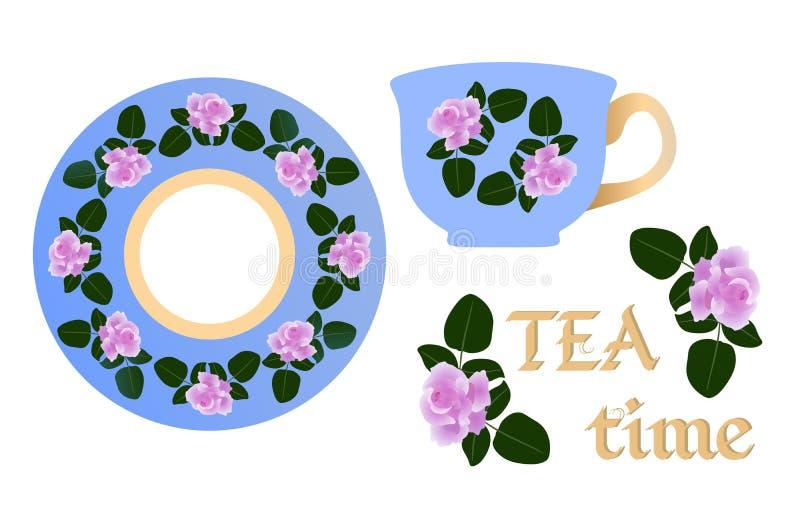 Teste padrão floral para pares do chá Rosas bonitas do café da manhã inglês em um fundo azul ilustração do vetor