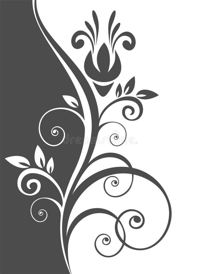 Teste padrão floral preto ilustração royalty free