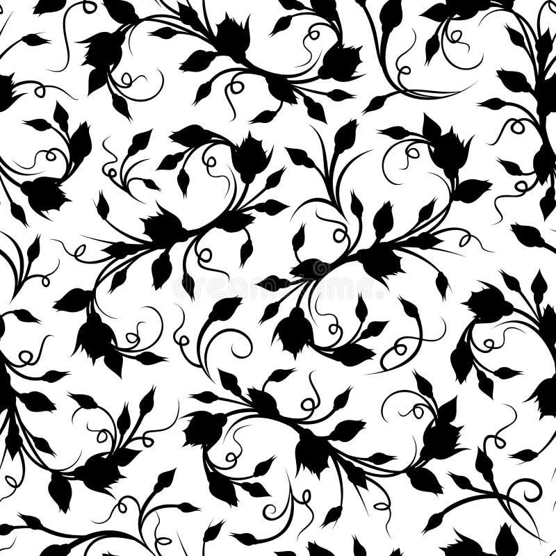 Teste padrão floral preto sem emenda. Ilustração do vetor. ilustração stock