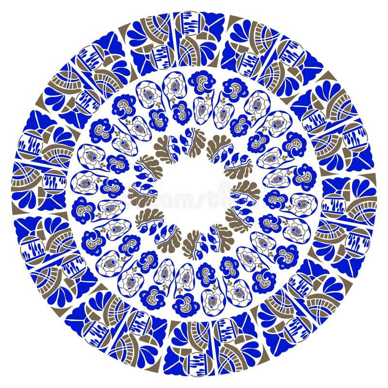 Teste padrão floral redondo decorativo azul ilustração royalty free