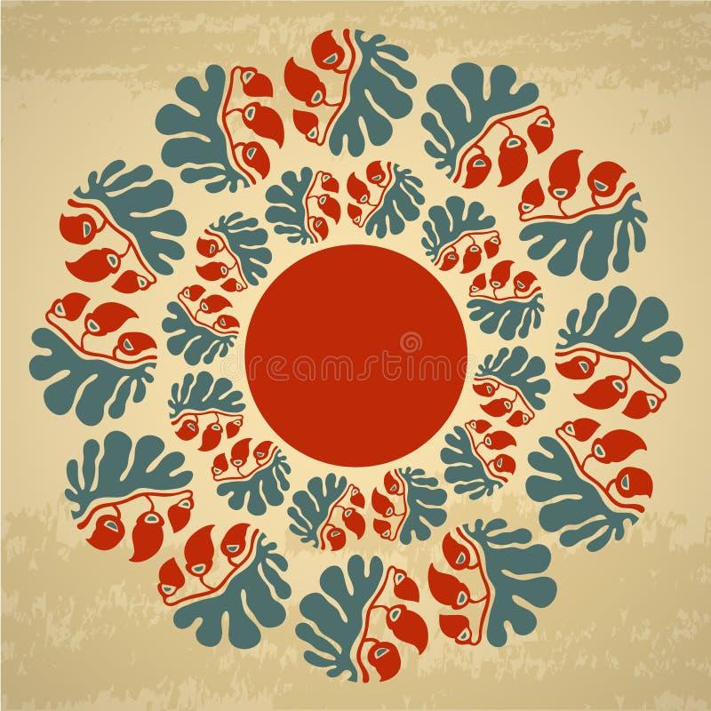 Teste padrão floral redondo decorativo com quadro de texto ilustração royalty free