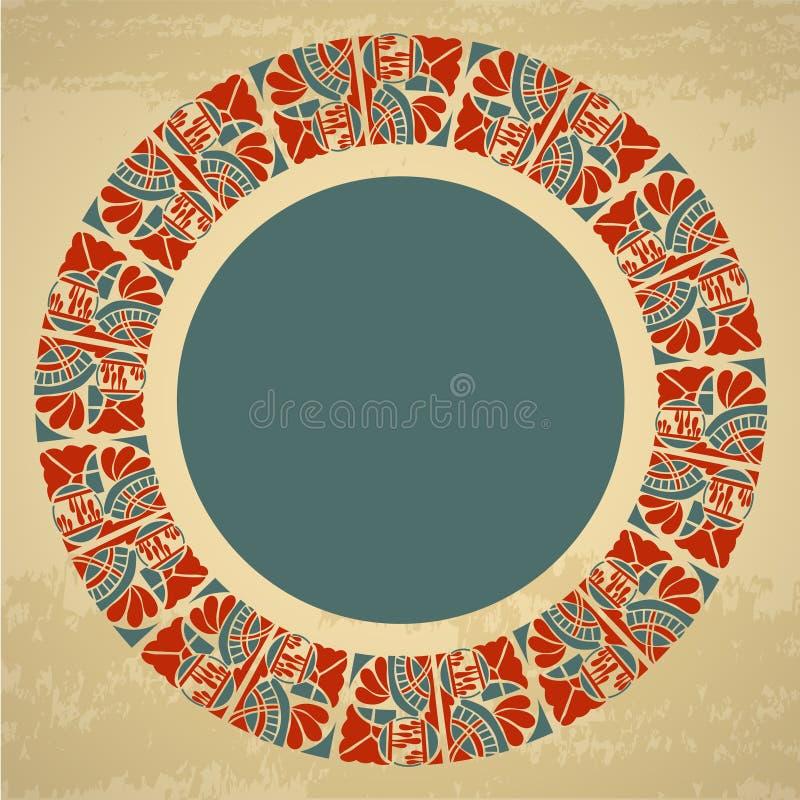 Teste padrão floral redondo decorativo com quadro de texto ilustração do vetor