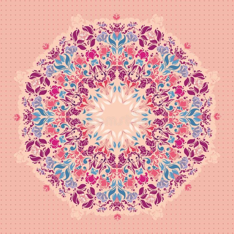 Teste padrão floral redondo decorativo do laço. ilustração do vetor