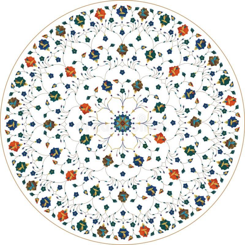 Teste padrão floral redondo decorativo do laço ilustração stock