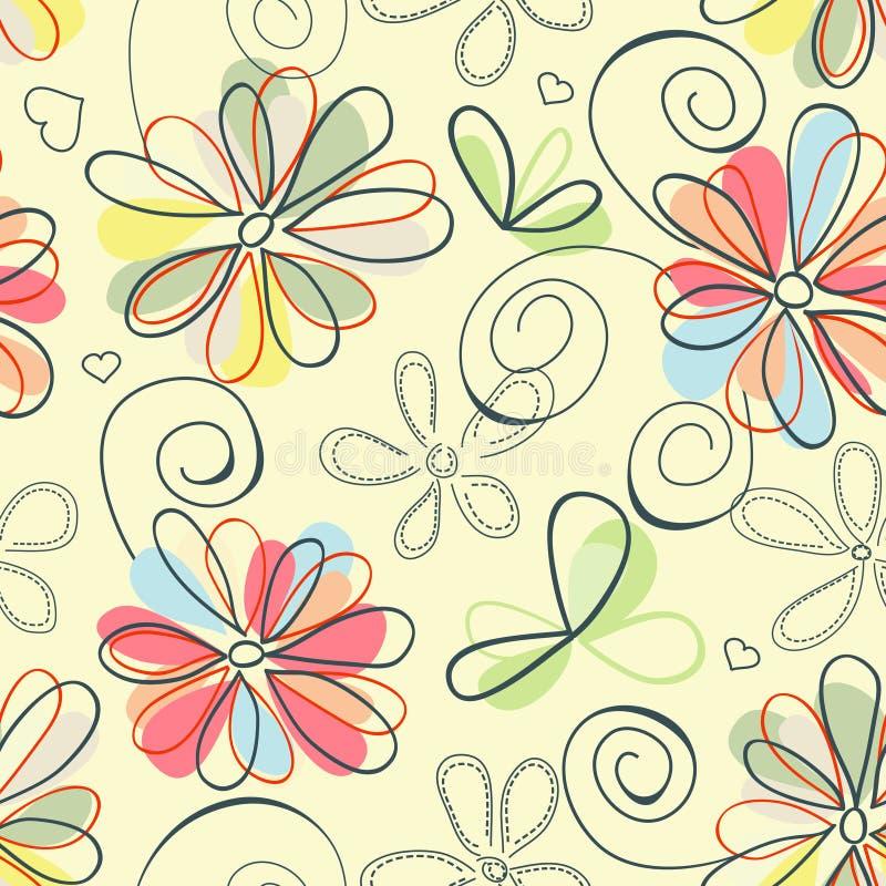 Teste padrão floral retro ilustração do vetor