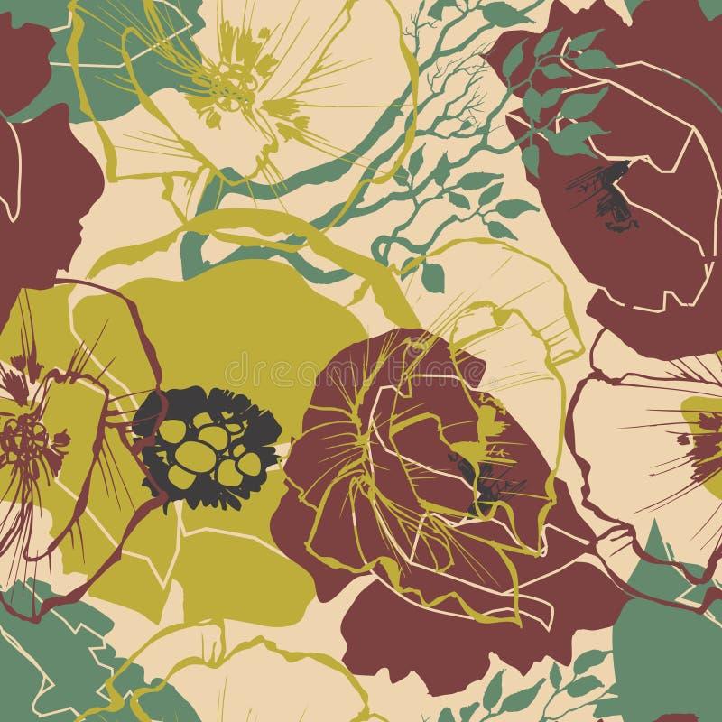 Teste padrão floral retro ilustração stock