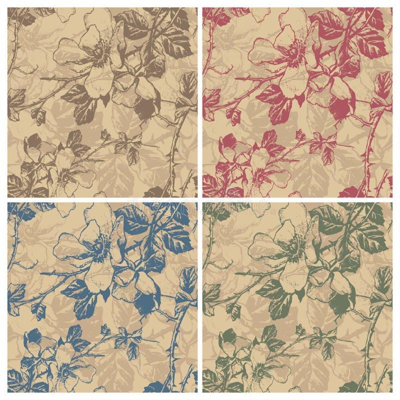 Teste padrão floral retro sem emenda () ilustração do vetor