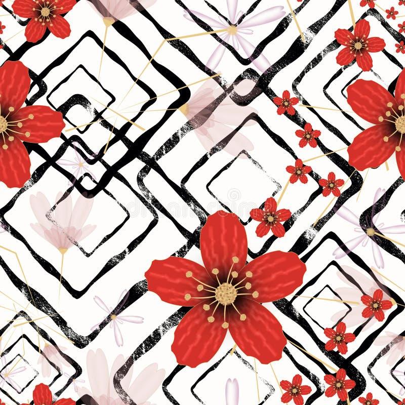 Teste padrão floral retro sem emenda, flores vermelhas no fundo branco ilustração stock