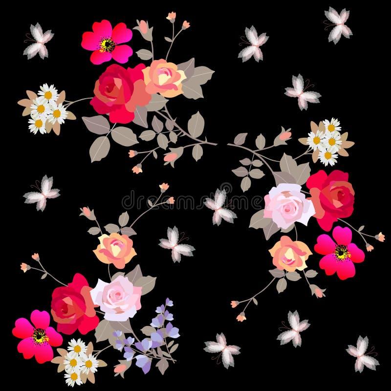 Teste padrão floral romântico infinito com as borboletas no fundo preto ilustração do vetor