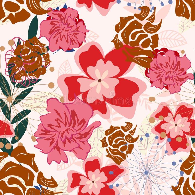 Teste padrão floral sem emenda ilustração do vetor