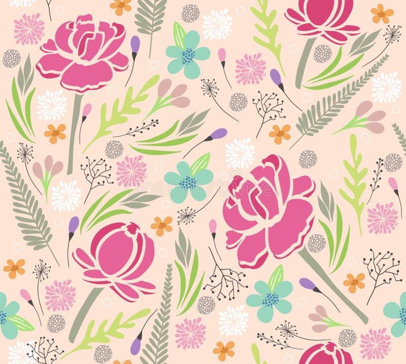Teste padrão floral sem emenda. ilustração royalty free