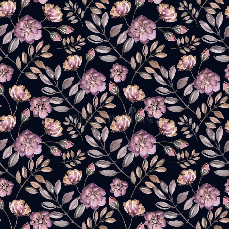 Teste padrão floral sem emenda A aquarela cor-de-rosa floresce, as folhas em um fundo preto ilustração royalty free