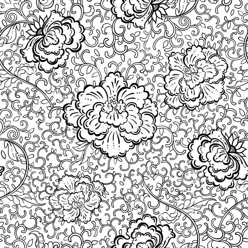 Teste padrão floral sem emenda bonito Fundo desenhado à mão do vetor do vintage com motivos nacionais orientais ilustração royalty free