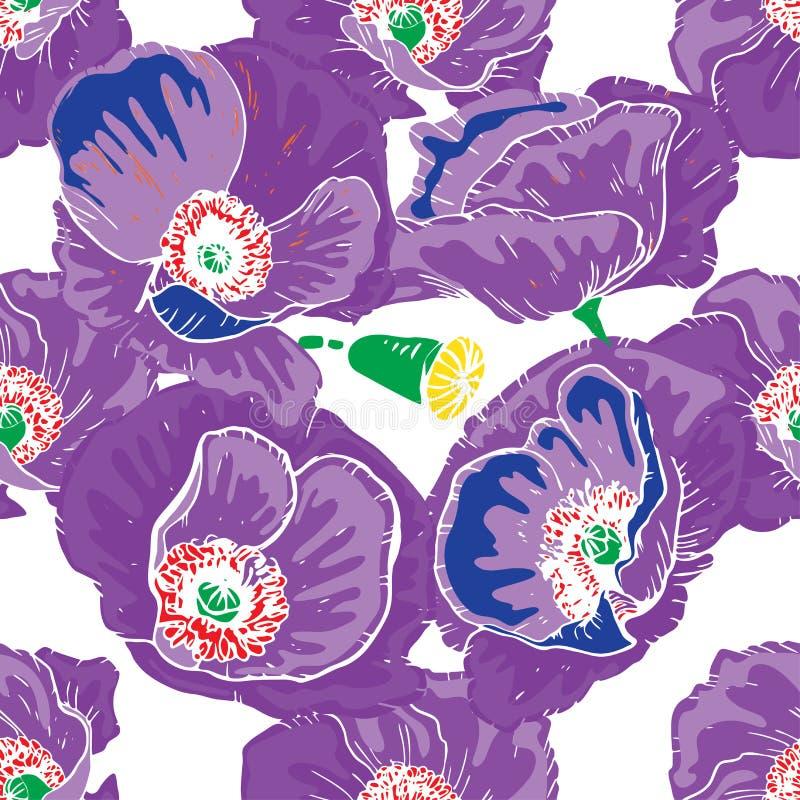 Teste padrão floral sem emenda brilhante  Mão abstrata fundo tirado do vetor ilustração royalty free