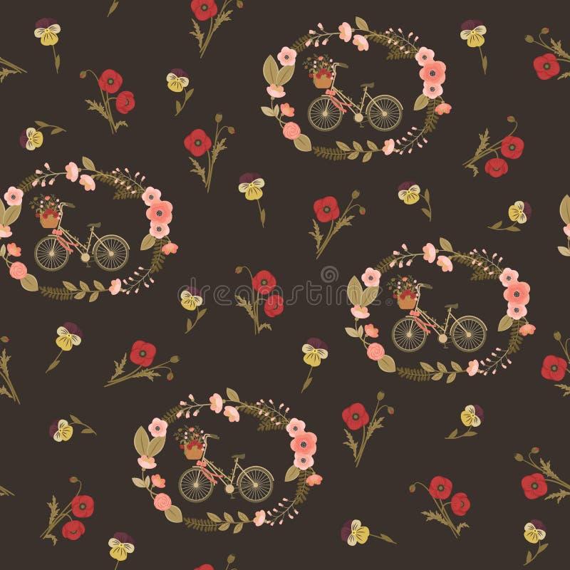 Teste padrão floral sem emenda chique gasto ilustração royalty free