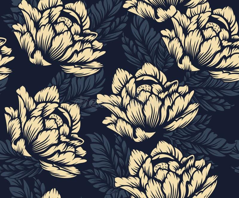 Teste padrão floral sem emenda colorido no fundo escuro imagem de stock