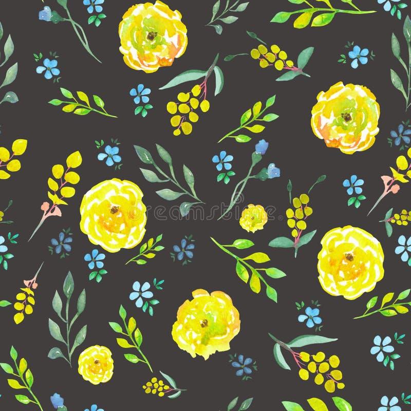 Teste padrão floral sem emenda com as flores amarelas e azuis da aquarela ilustração do vetor