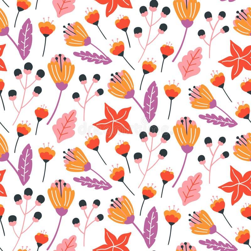 Teste padrão floral sem emenda com as flores selvagens, as folhas e as ervas tiradas mão ilustração stock