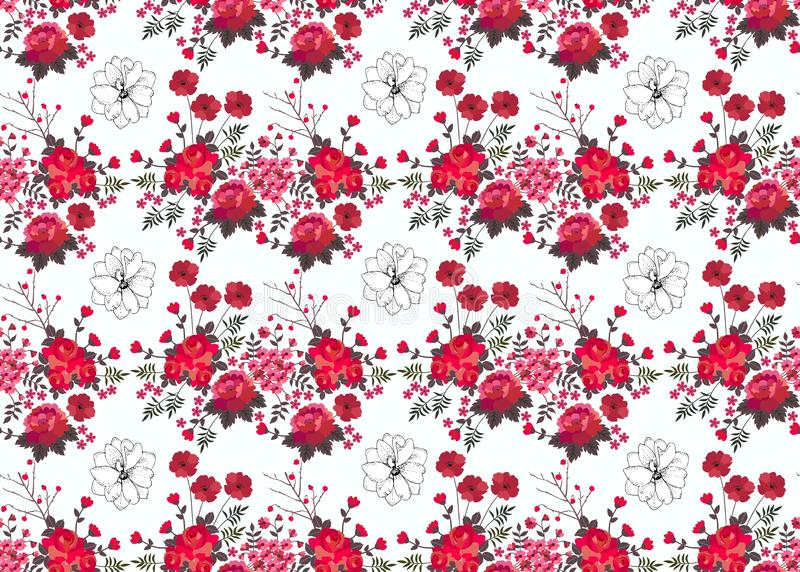 Teste padrão floral sem emenda com as rosas vermelhas, as bagas e as papoilas isoladas no fundo branco Cópia para a cortina Proje ilustração do vetor