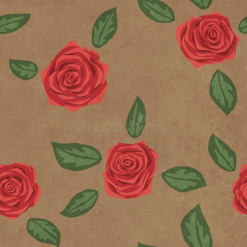 Teste padrão floral sem emenda com as rosas vermelhas no fundo de papel fotografia de stock