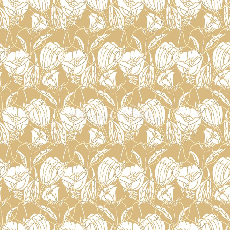 Teste padrão floral sem emenda com cordas, fitas, tulipas, papoilas e lírios Cópia complexa do vetor no amarelo, na mostarda e no ilustração stock