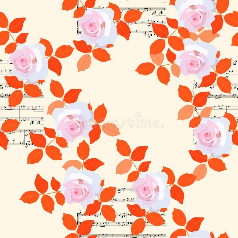 Teste padrão floral sem emenda com luz - rosas cor-de-rosa, folhas alaranjadas e notas musicais no fundo bege ilustração do vetor